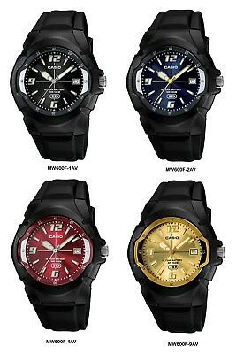Casio MW600F Men's Black Resin Band Black Blue Red Gold Dial 100M Analog Watch