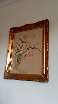 Vintage Oriental Silk Painting in  lovely Gold Frame