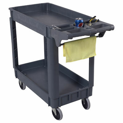 "40""x17"" Plastic Utility Tool Maintenance Warehouse Service Push Cart 2 Shelves"