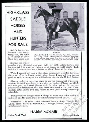 1932 saddle horse photo and hunter horse breeder Harry McNair vintage print ad