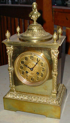 Quality Antique Victorian French Figural Woman Bust Brass Shelf Mantle Clock  Nr
