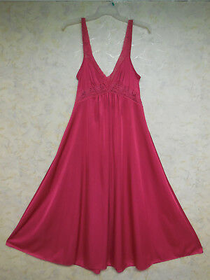 "Vintage Danni, New York Long Raspberry Nylon, 122"" Sweep, Nightgown, Sz Large"