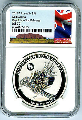 2018 P Silver $1 Australia Ngc Ms70 Kookaburra Year Of Dog Privy First Releases