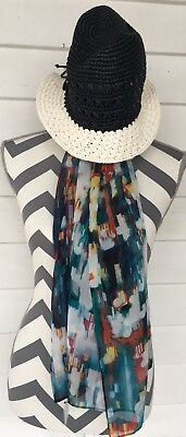 Kate Spade Fedora Hat Blue White And Calvin Klein Scarf Multicolored Chiffon