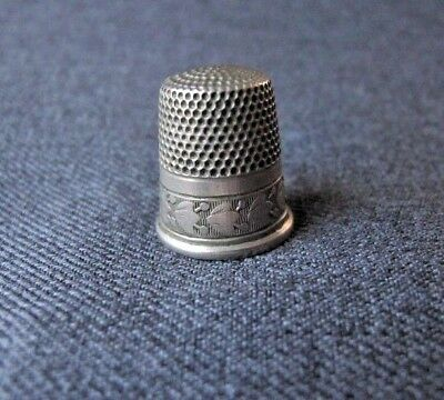 Antique decorated Silver Thimble  Marked USA S B C Simons Brothers Co Size 9