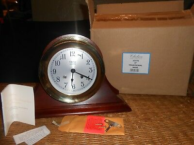 "Chelsea Shipstrike Clock With 6"" Maghogany Base"