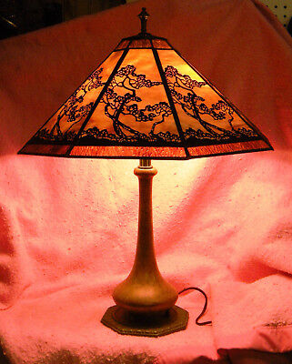 Antique Bradley and Hubbard lamp @ repro shade.Works well. Low start.NR