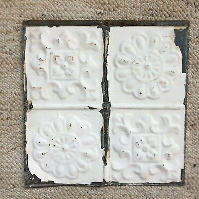 1890's 12 x 12 Antique Tin Ceiling Tile White Metal Reclaimed Anniversary 84-18