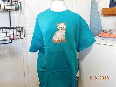 New  Siamese  Kittend Embroidered T-Shirt Add Name For Free