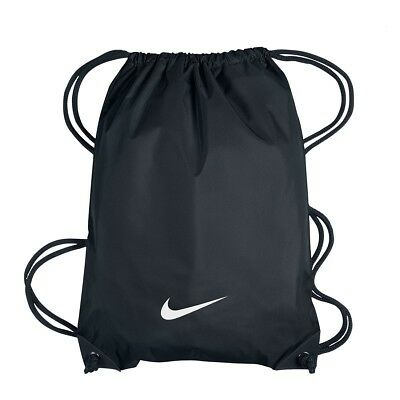 Nike Drawstring Bag Backpack Gym Sack Sports Shoe Bag Black Swoosh Logo **new**