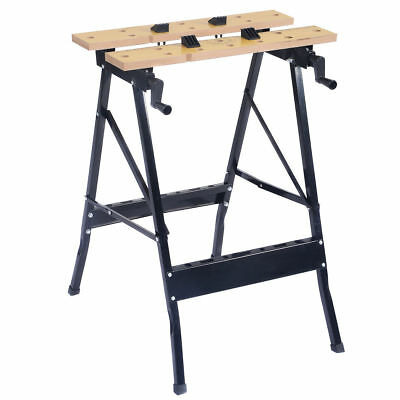 Heavy Duty Portable Folding Work Bench Sawhorse Clamp Jaw Table Repair Shop Tool