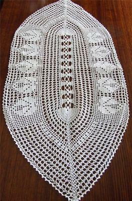 Beautiful Snow White Vintage Hand Crocheted Oval Shaped Table Runner