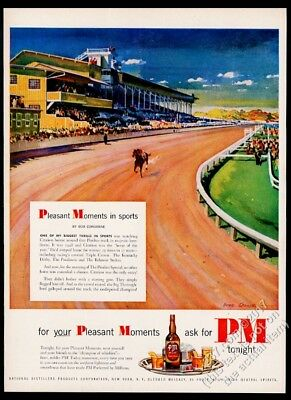 1951 Citation horse Pimlico race track racetrack art PM Whiskey vintage print ad