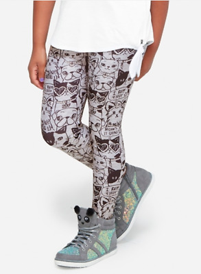 *new* Justice Girls Size 7 8 10 12 Gray Pet Foil Print Kitty Puppy Leggings