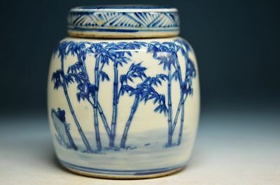 Chinese Qing Blue and white porcelain Bamboo & Man Pot