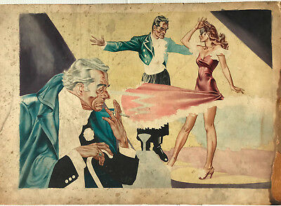 2 Original 1940's George Wunder Illustrations- Sexy Girl Color & B&W Mystery