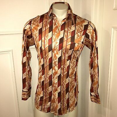 Vtg 60s 70s SEARS Mens Store LARGE Saturday Night Fever Disco POLYESTER shirt L