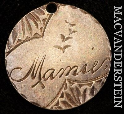 """Love Token: Double Sided Dime Planchet- """"mamie/g.s."""" !! #y2287"""
