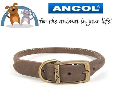 Ancol Sable Timberwolf Round Sewn Leather Dog Collar Sizes Available In Dropdown