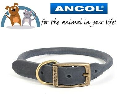 Ancol Blue Timberwolf Round Sewn Leather Dog Collar Sizes Available In Dropdown