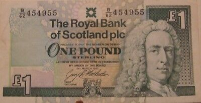 One Pound Sterling Banknote The Royal Bank of Scotland B/62-454955