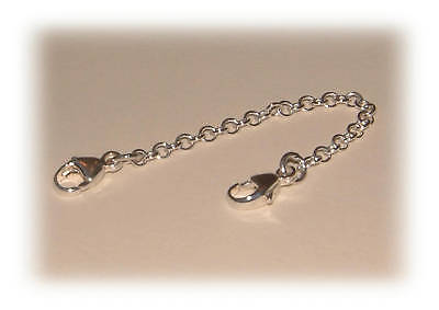 925 Sterling Silver Safety Extension Chain for Bracelet Necklace Pearl Extender