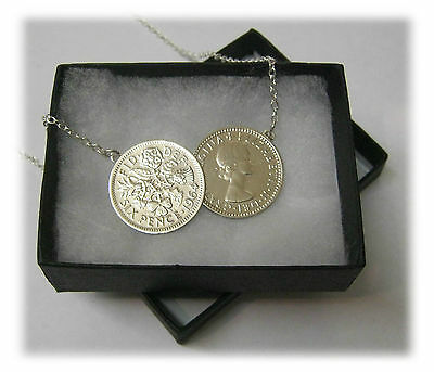 Pick Your Year Lucky Double Sixpence Coin Necklace Silver Chain NEW Birthday?