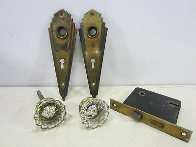Vintage Art Deco Style Brass Door Back Plates & Glass Knob Set