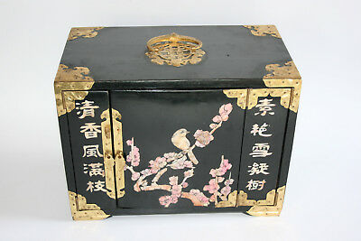 Chinese Wooden Lacquer Brass Mother of Pearl Inlay Jewellery Trinket Drawer Box