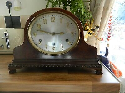 ATTRACTIVE 1930s WESTMINSTER CHIME MANTLE CLOCK SPARES/REPAIR