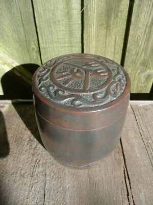 Chinese Pottery Tobacco/spice Lidded Jar Square Seal Mark To Base