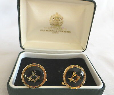 Boxed Pair Of Gold Metal And Black Masonic Cufflinks (16A)