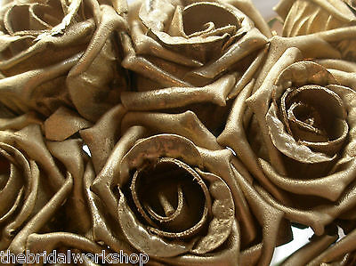6 Foam Roses Wedding Flowers Gold Or Silver Bride Bouquet