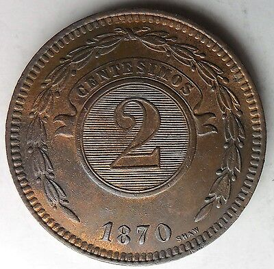 PARAGUAY 1870 Two Centesimos 2C; One Year Type; Nice Red/Brown