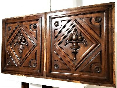 """Pair Hand Carved Wood Panel 19.7"""" Antique French Gothic Rosace Salvaged Carving"""