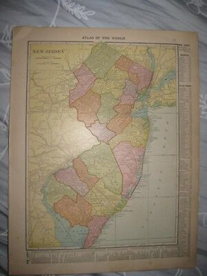 Superb Antique 1915 New Jersey Map Railroad Detailed Monmouth Bergen County Rare