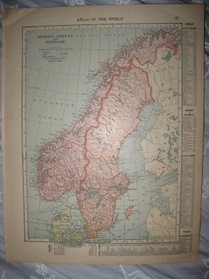 Fine Antique 1915 Netherlands Belgium Sweden Norway Denmark Map Canal Railroad