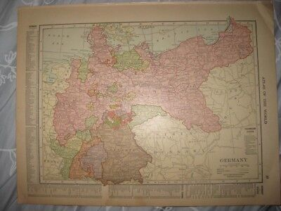 Fine Antique 1915 Germany Prussia France Map Canal Railroad Maritime Detailed Nr