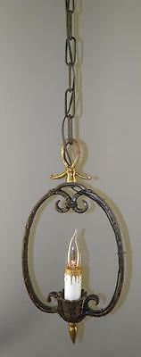 Antique Arts&crafts Hammered Wrought Iron Spanish Revival Hanging Pendant Light