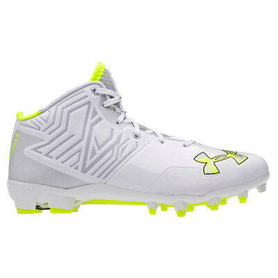 NEW Under Armour Banshee Mid Lacrosse / Football Cleats White / Silver Sz 9.5 M