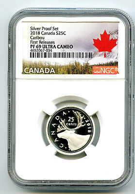 2018 Canada 25 Cent .9999 Silver Proof Quarter Ngc Pf69 Ucam First Releases