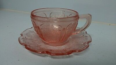 Jeannette Cherry Blossom Tea Coffee Cup & Saucer Pink Depression Glass Vintage