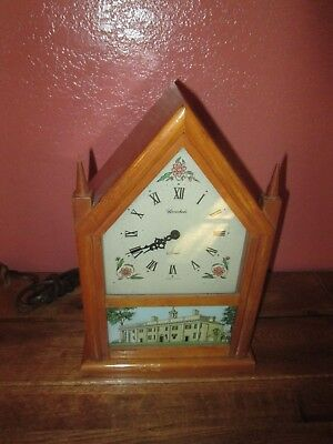 Vintage Herschede Strike Mantel Clock Wood Casing Glass Picture of Building