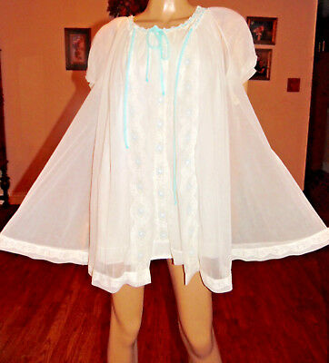 Vtg Miss Elaine Double Chiffon Nylon Sissy Nightgown & Peignoir Set, Sm-Bust 40