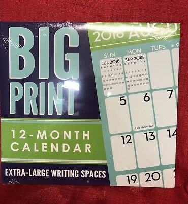 2018 Wall Calendar - BIG PRINT -12 Month- 12x22 Inches - Large Writing Spaces