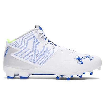 NEW Mens Under Armour Banshee Mid Lacrosse / Football Cleats White / Blue Sz 12M