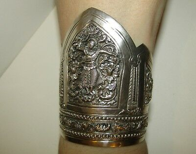 Intricate, Large, Antique, Chinese Sterling Silver Cuff Bangle