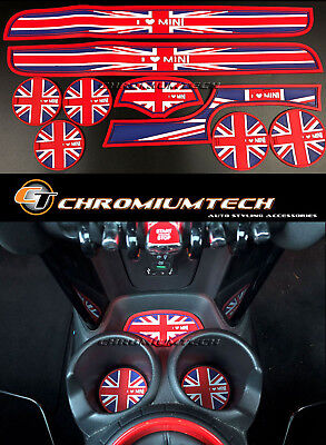 MK3 MINI Cooper/S F56 F57 Union Jack Cup Holder Coaster + Side Door Mats 9pcs
