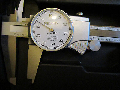 "Mitutoyo 505-676 8"" Dial Caliper w Case .001"" D8""TN Stainless Shock Proof EUC"