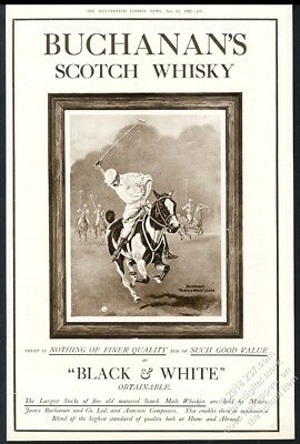 1922 polo player pony horse art Black & White Scotch Whisky vintage UK print ad